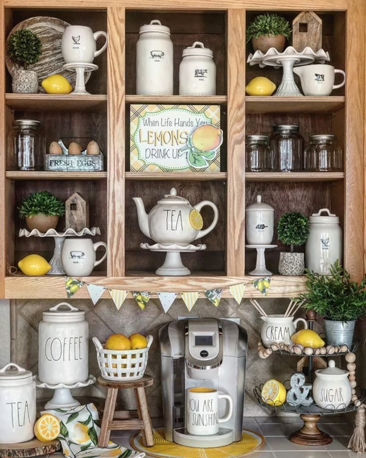 An image showing a lemon decorated kitchen cabinet