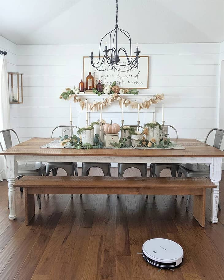 farmhouse dining room with diy dining table and metal chairs