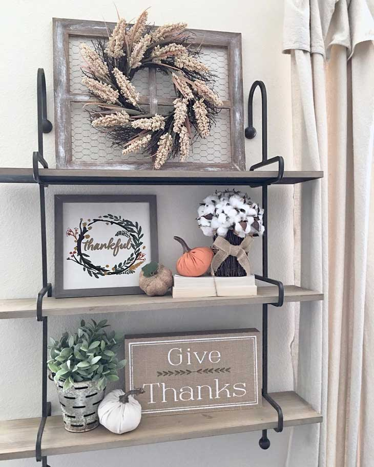 fall wreath on a shelf decor
