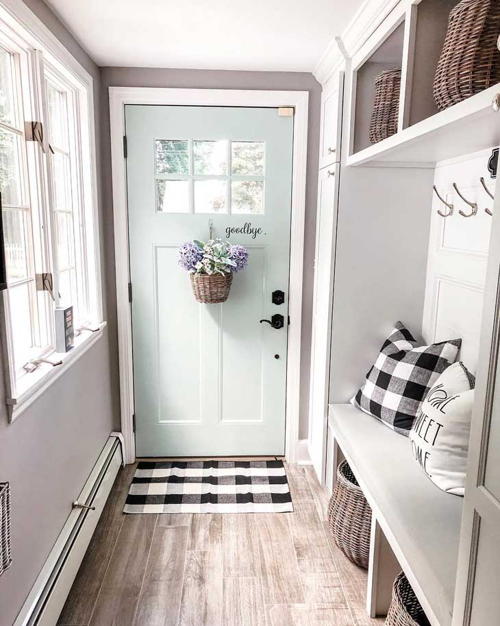 buffalo check entryway decor with mint door