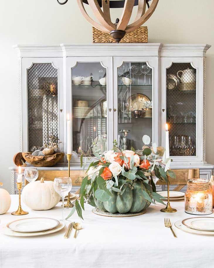 pumpkin thanksgiving table centerpiece, fall table centerpiece