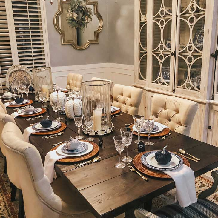 fall table decor for dining table