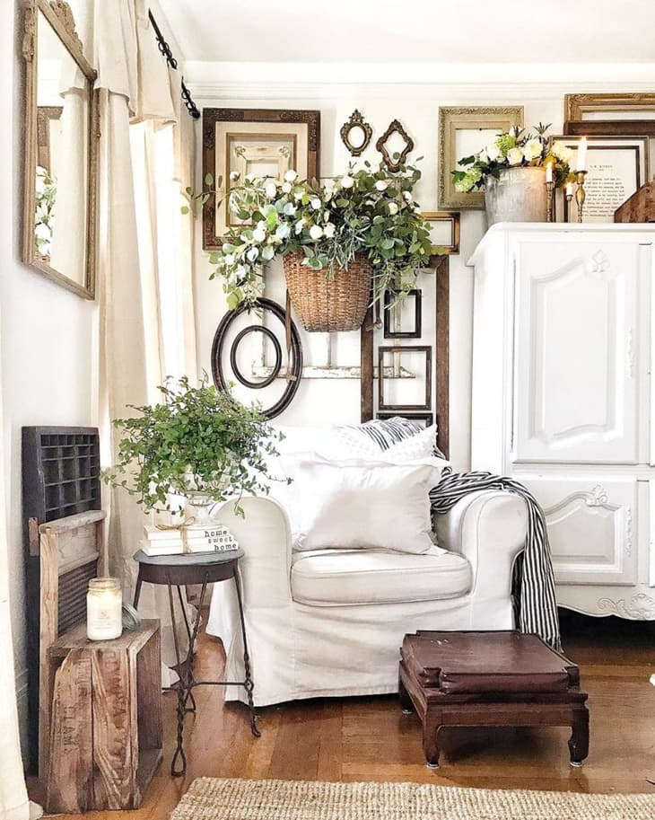 Farmhouse gallery wall with greenery