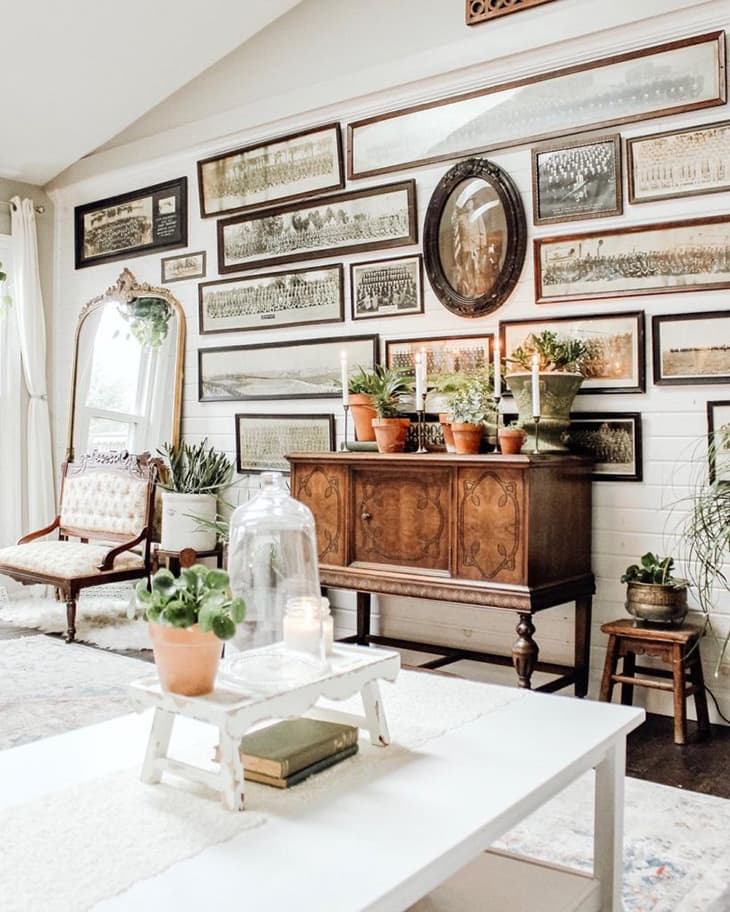 farmhouse gallery wall on shiplap