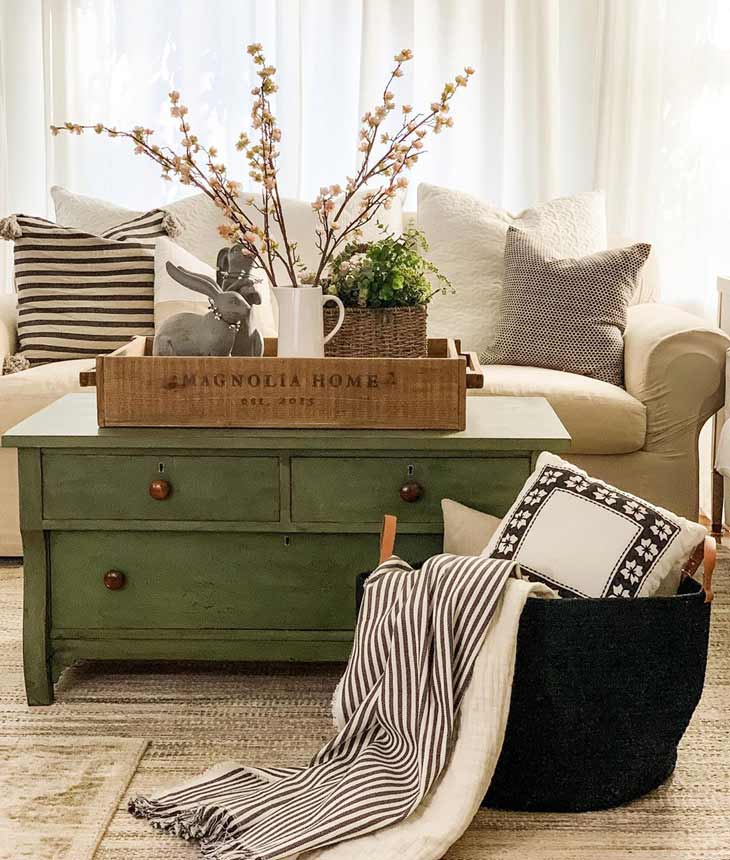 farmhouse coffee table decor with crate tray with ceramic pitcher, greenery and ceramic bunny