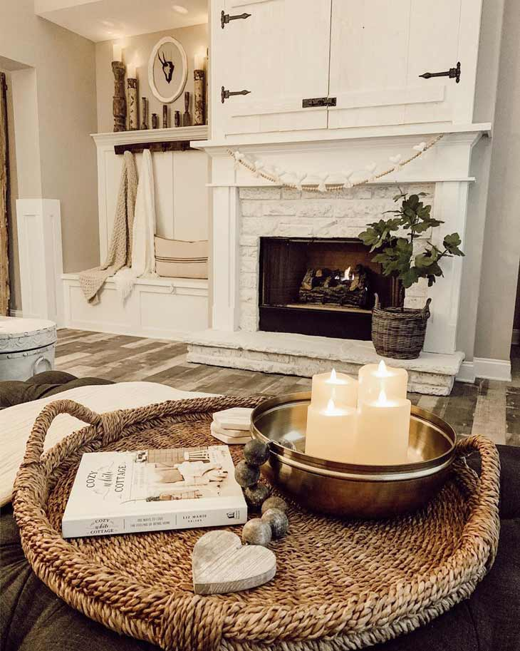 coffee table decor with basket tray and candles