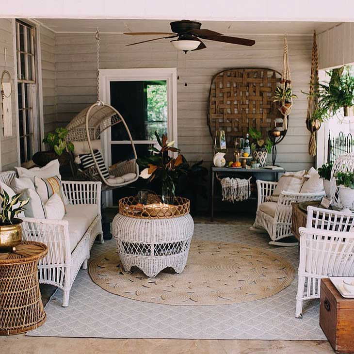 outdoor decor with tobacco basket