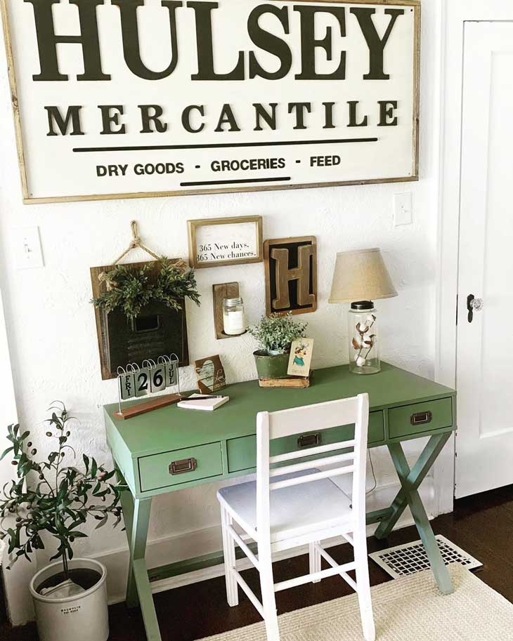 home office with farmhouse desk and big farmhouse sign