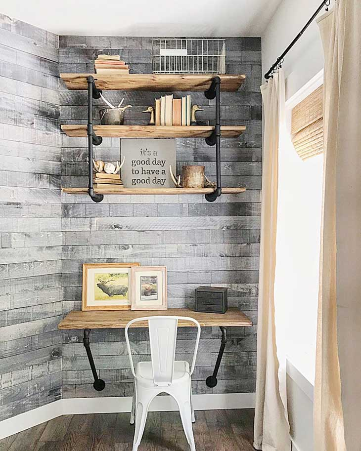 industrial home office with metal chair