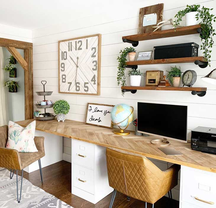 wood and white home office with herringbone desk and farmhouse clock