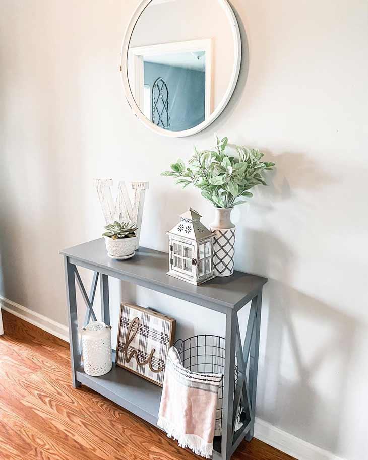 Small grey-blue entryway table