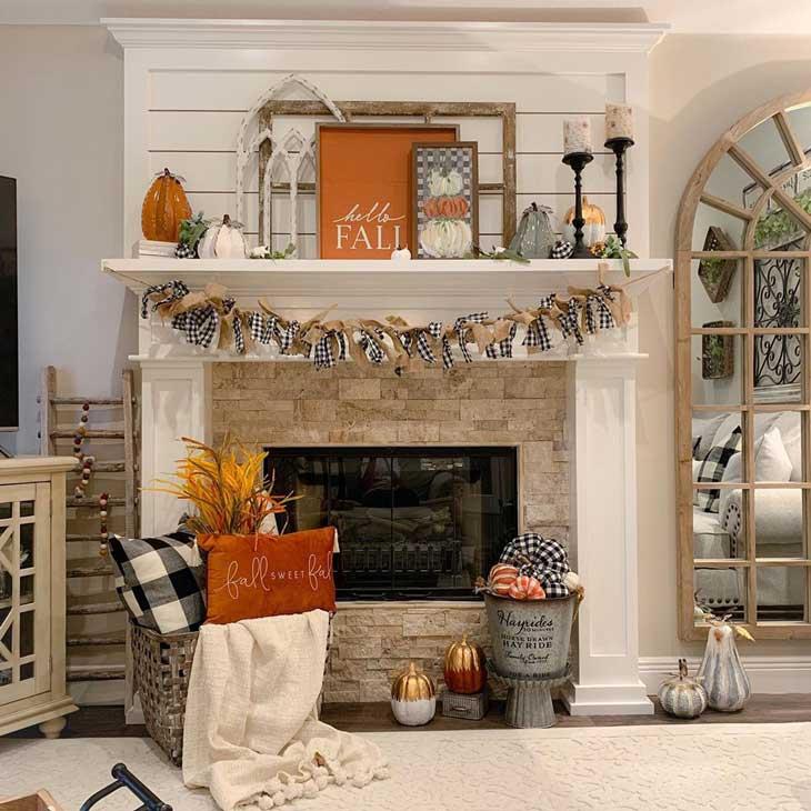 Buffalo check and pumpkin fall fireplace decor