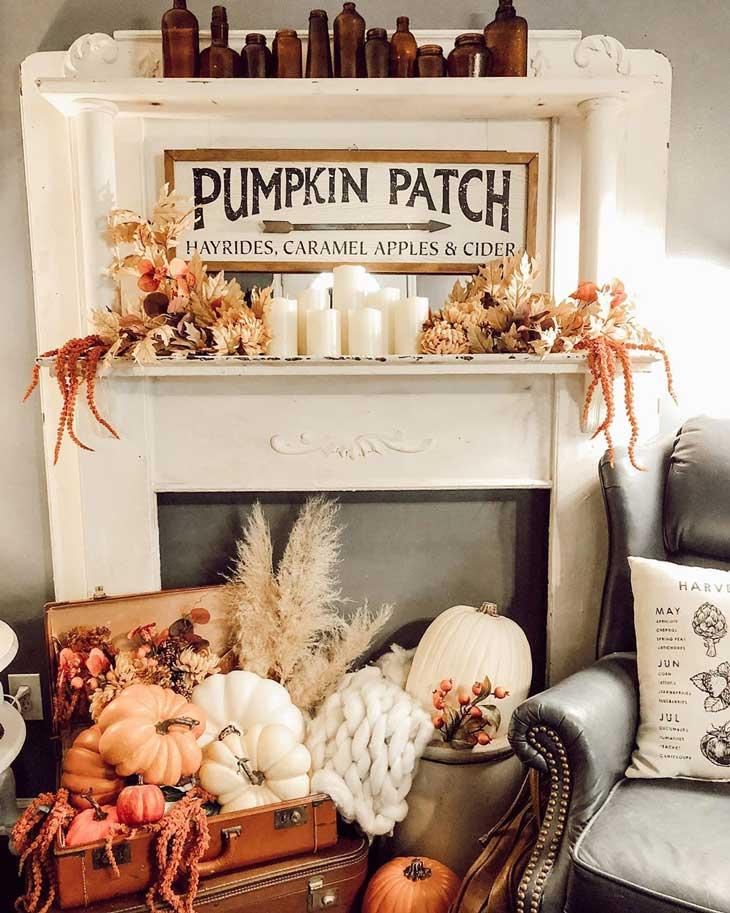 Fall fireplace decor on white fireplace
