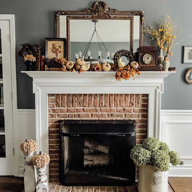 Traditional fireplace with autumn decor