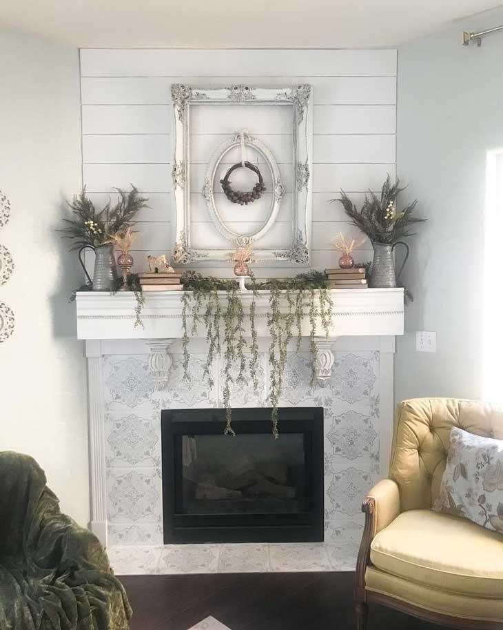 Shiplap fireplace with fall mantel decor
