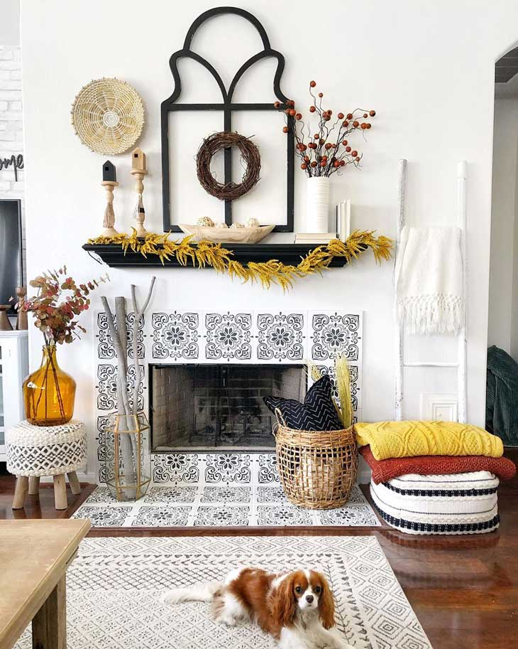 Spanish style fireplace with fall decor