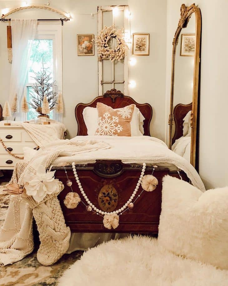 Antique bed frame with Christmas decor