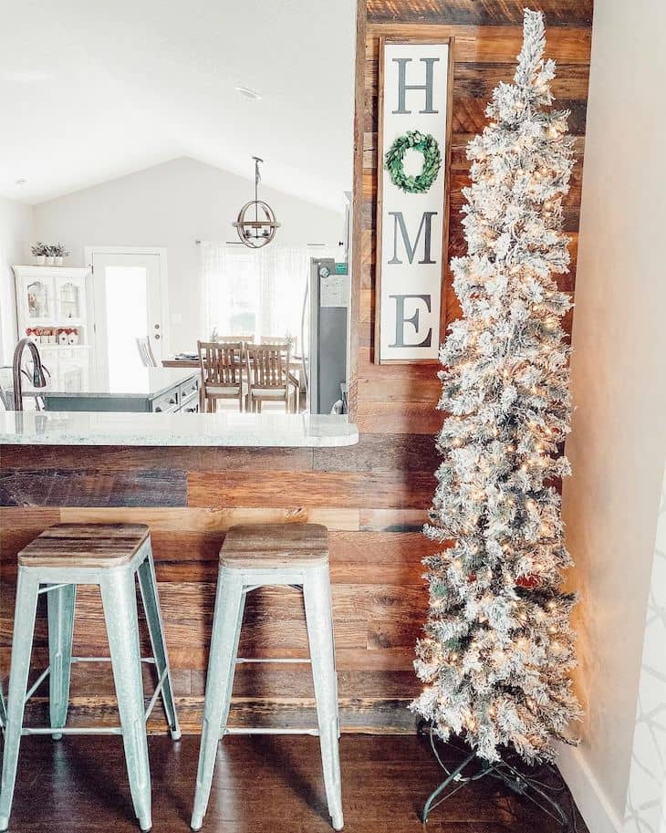 Bar area with pencil Christmas tree