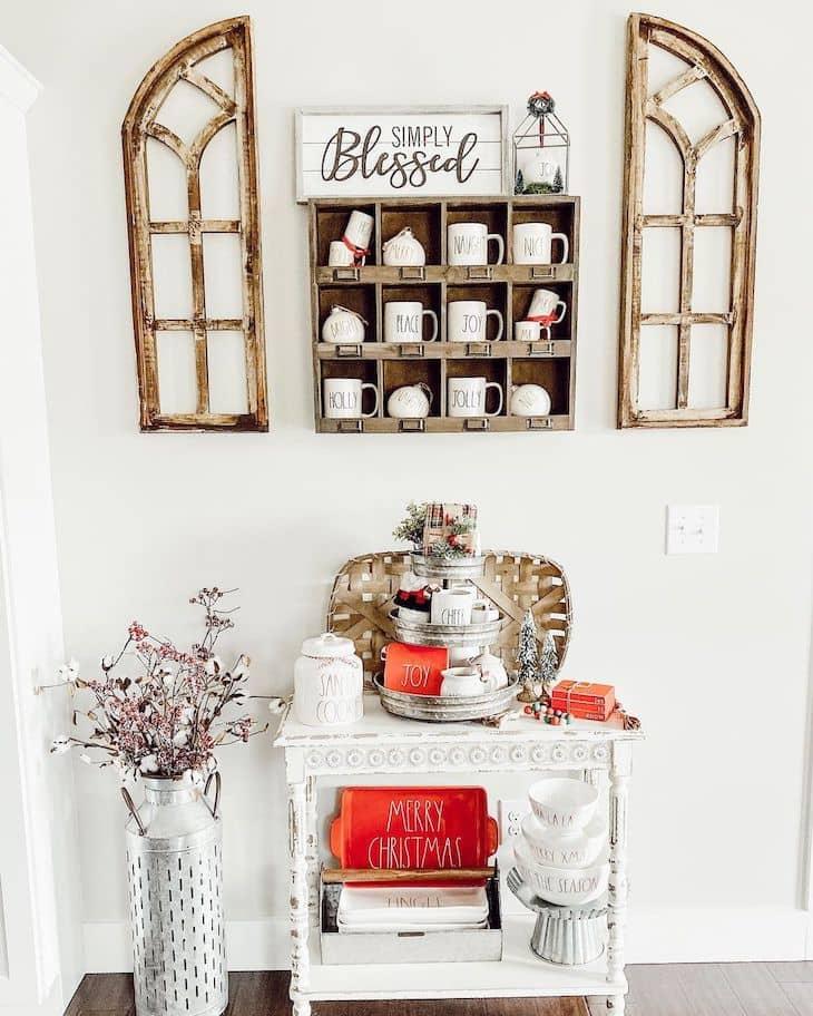 Christmas coffee bar with tobacco basket and rae dunn mugs