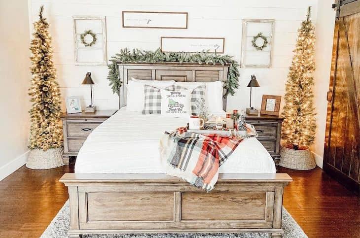 Christmas bedroom decor with two Christmas trees