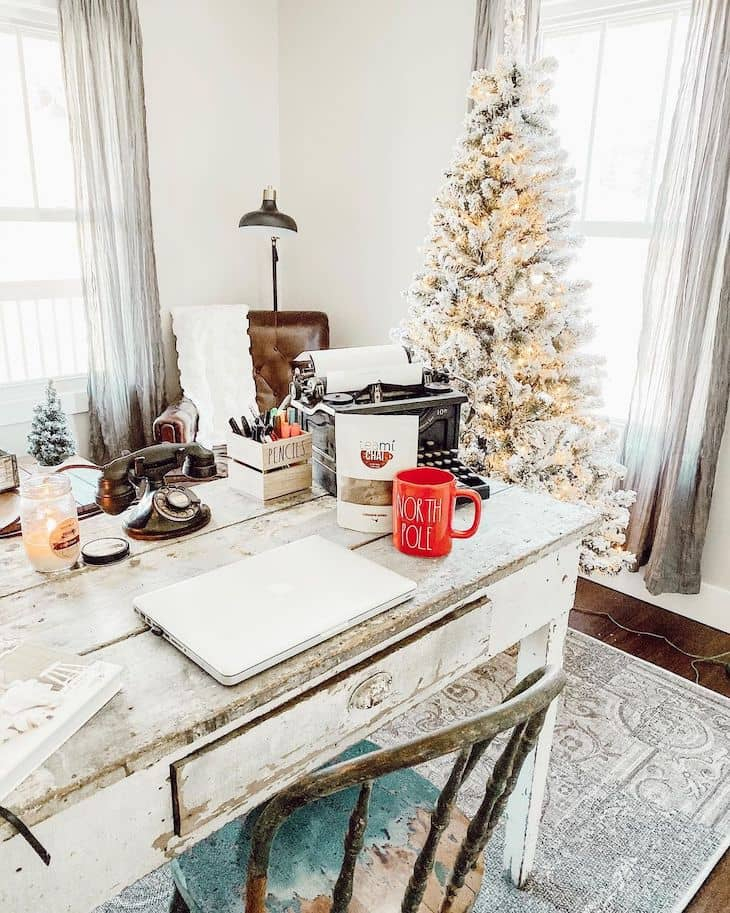 Home office with Christmas tree