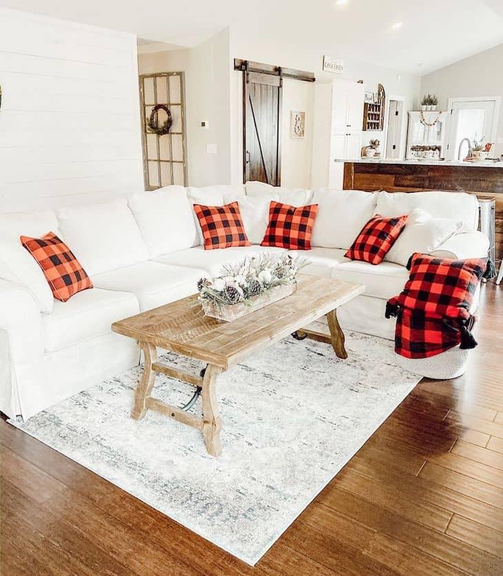 Christmas living room decor with red buffalo check pillows