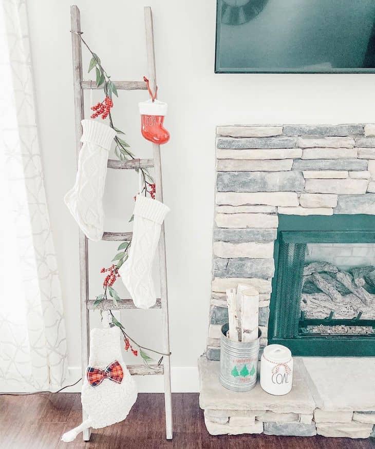 Blanket ladder used to hand Christmas socks