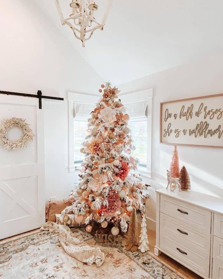 Peach and soft pink flocked Christmas tree for kids room