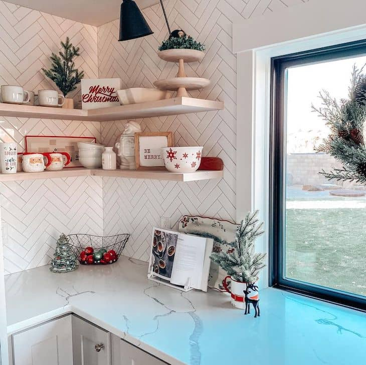 Kitchen shelf with Christmas dishes