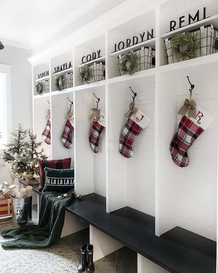 Mudroom Christmas decor