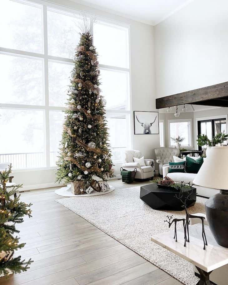 Tall skinny Christmas tree with neutral decor
