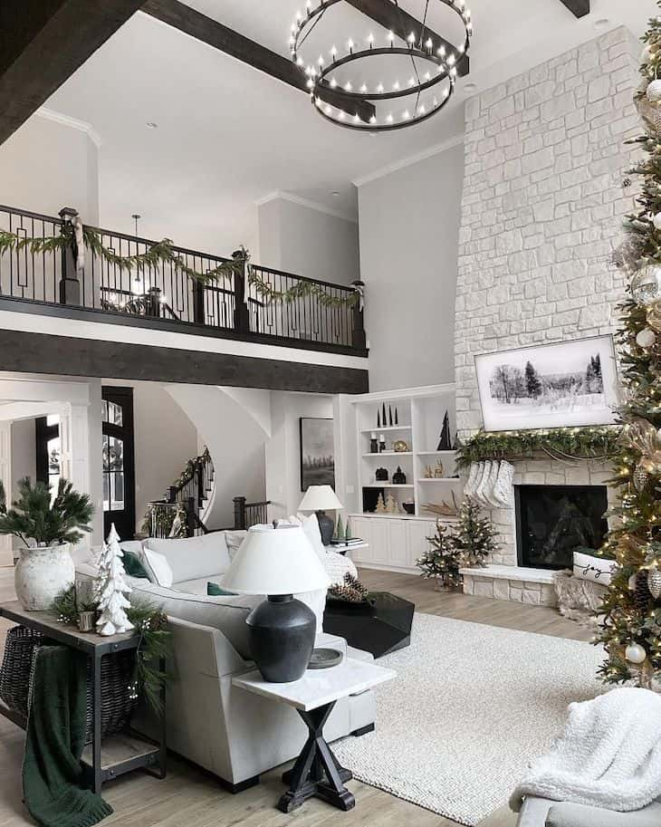 Living room Christmas decor in neutral and green