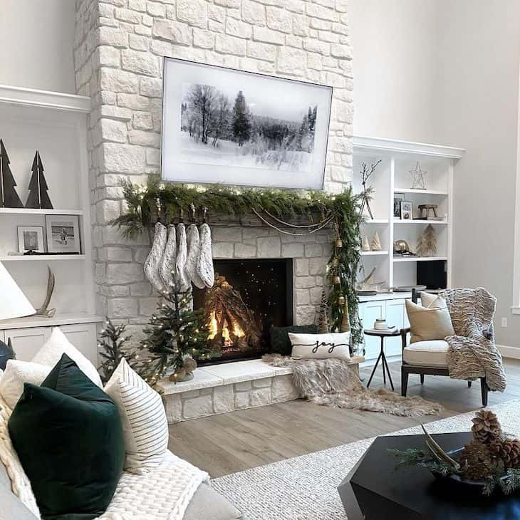 Fireplace Christmas decor for white stone fireplace