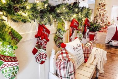 red, white and green Christmas entryway decor