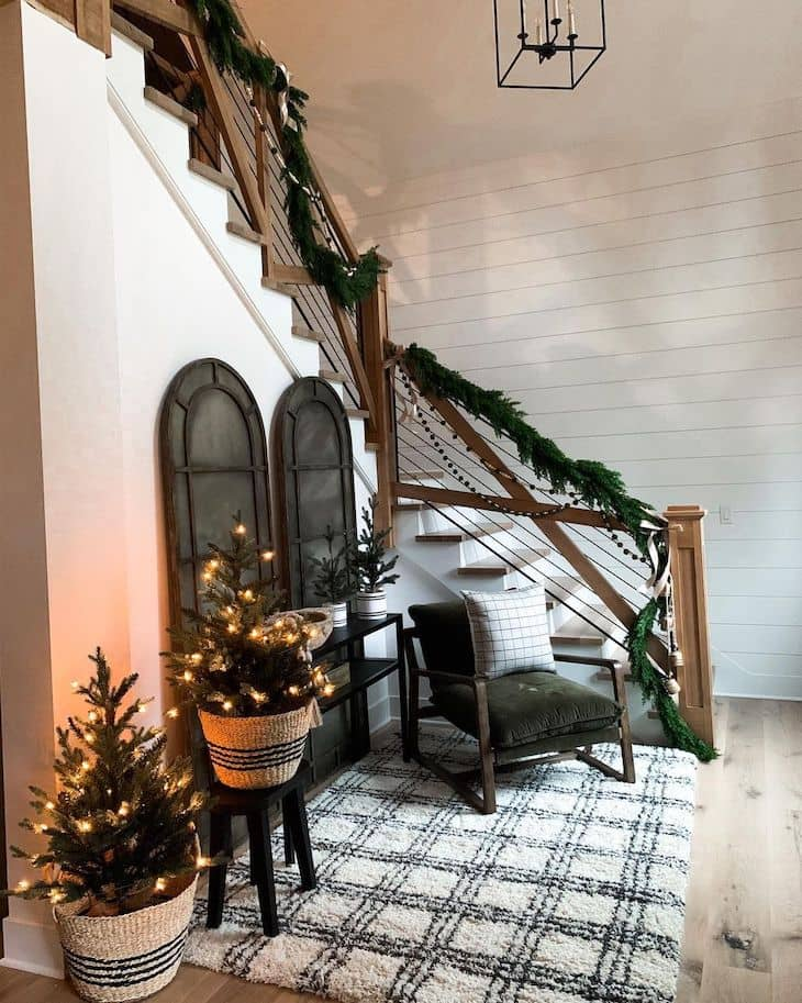 Staircase with garland and Christmas decor