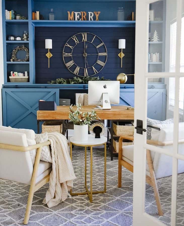 masculine home office in blue