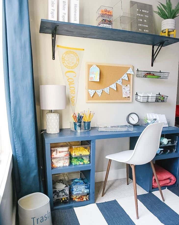 Learning station in boys room with blue desk