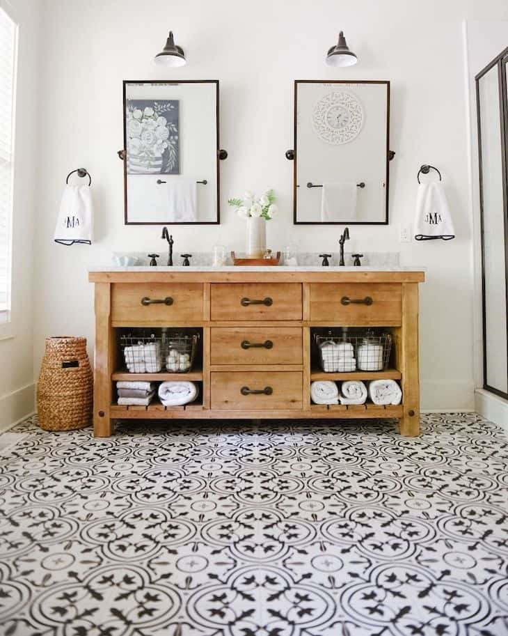 Master bathroom vanity in rustic wood with two sinks