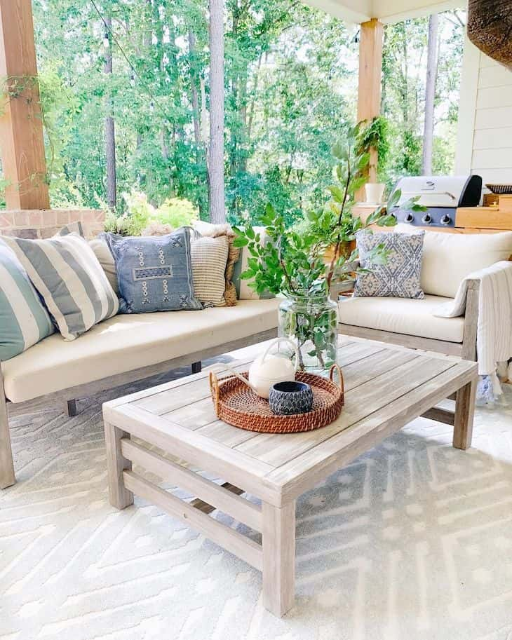 outdoor furniture in grey wood for back patio