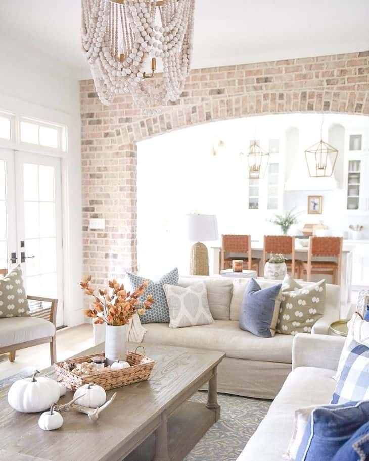Coastal living room with neutral and blue decor