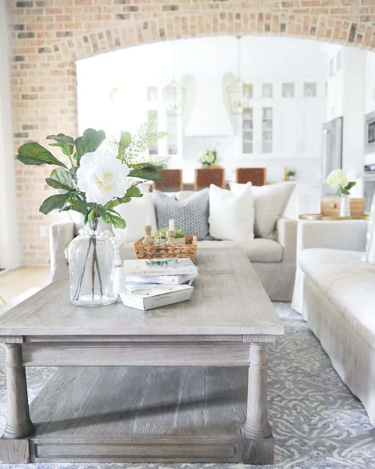 grey rectangle coffee table with table decor