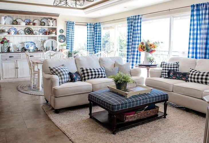 Coastal farmhouse living room with blue gingham decor