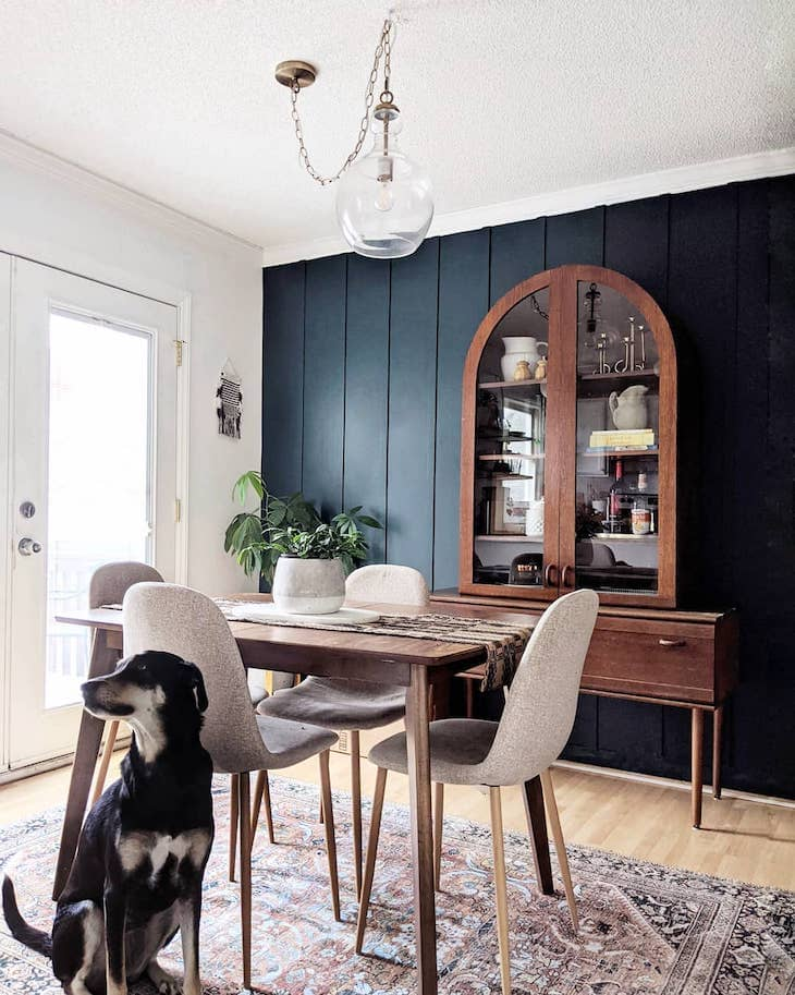 Navy dining room accent wall