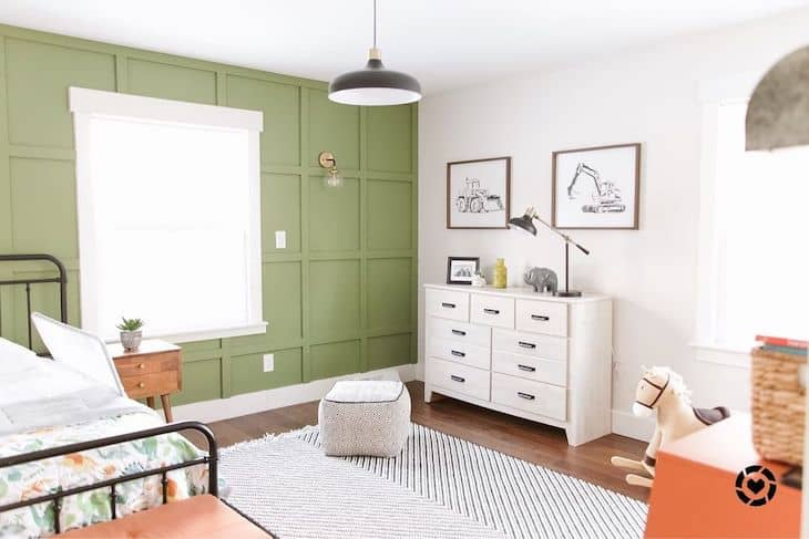 Lime green accent wall for kids room