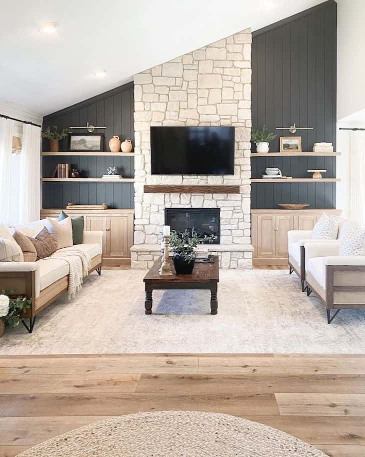 Black shiplap accent wall in living room
