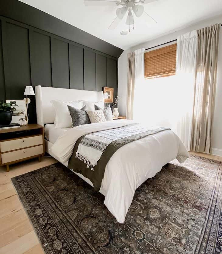 Board and batten bedroom accent wall in Carbonized color by Sherwin Williams