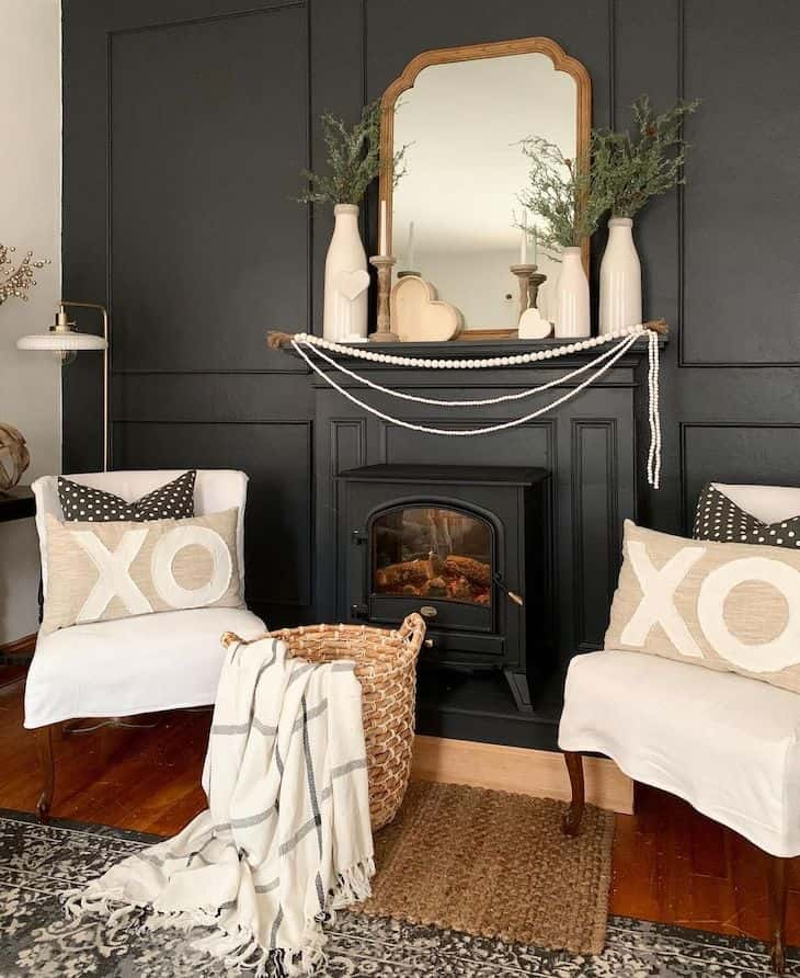 Black accent living room wall