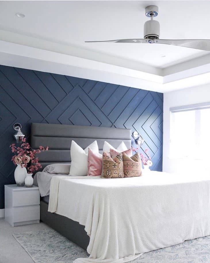 Navy bedroom accent wall with paneling