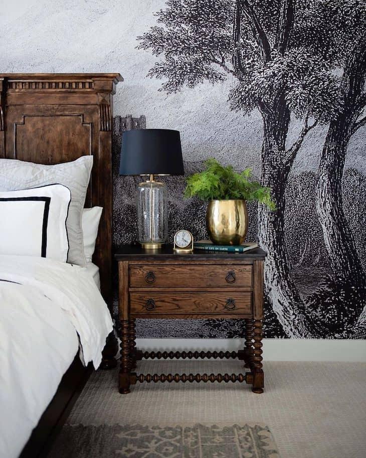 Night stand decor on a dark wood nightstand