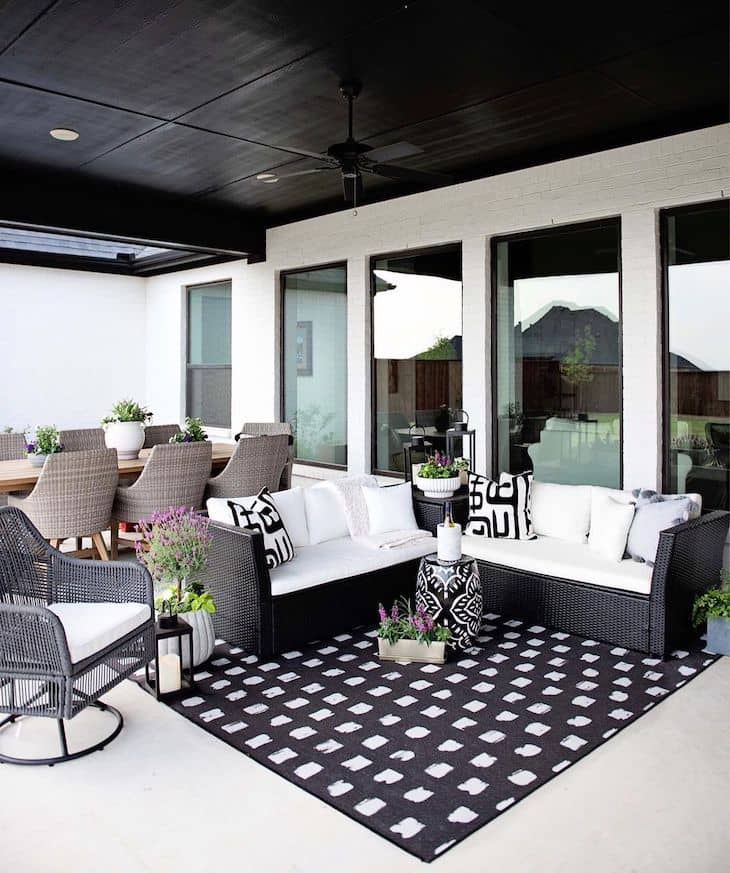 Black and white patio with dining space